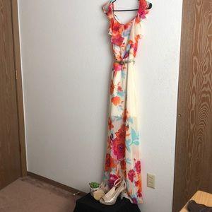 Bisou Bisou Michele Bohbot long floral dress &belt